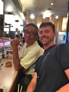 Grant and friend at SUSHI in Tokyo