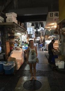 Rachel at Tsukiji Fish Market