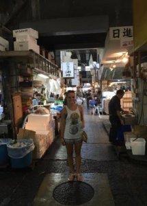 Rachel at Tsukiji Fish Market