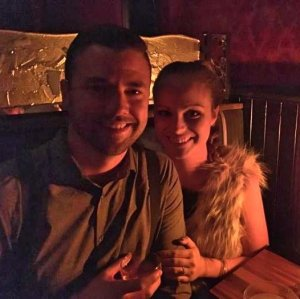 Grant and Rachel at Bourbon and Branch in San Francisco