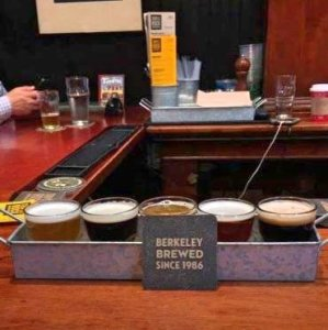A flight of beers at Triple Rock Brewing in San Francisco