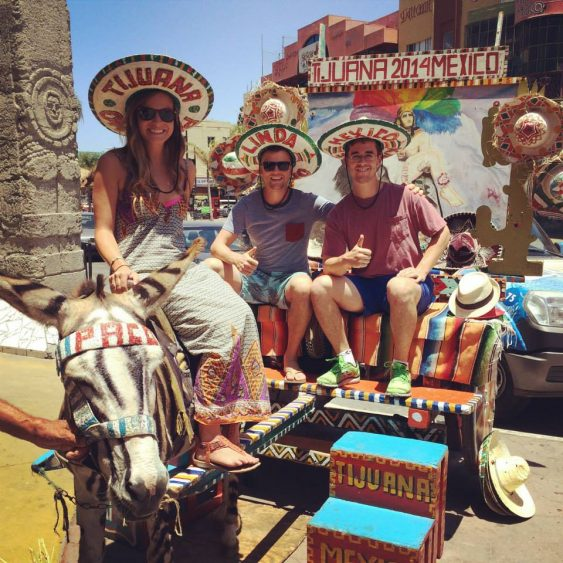 Grant, Rachel and Mason on a Zonkey in Tijuana Baja California