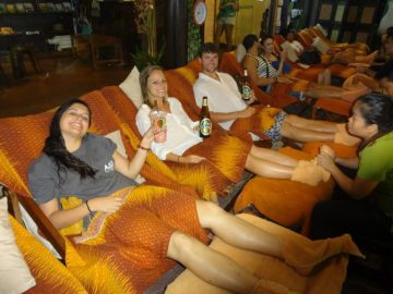 Grant Rachel and friends getting a massage in Bangkok
