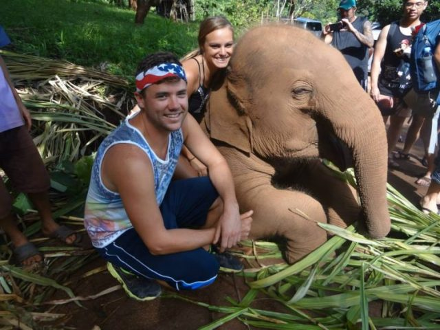Grant and Rachel with baby elephant