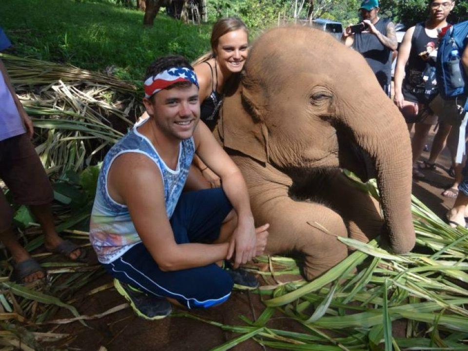 Grant and Rachel with baby elephant