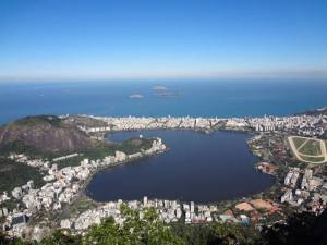 The view looking out from Cristo Redentor in Rio de Janeiro Brazil