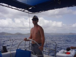 Grant sailing in the Caribbean