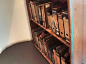The book shelf inside of the Anne Frank House