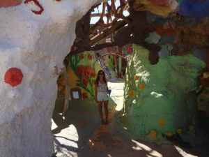 Rachel inside salvation mountain