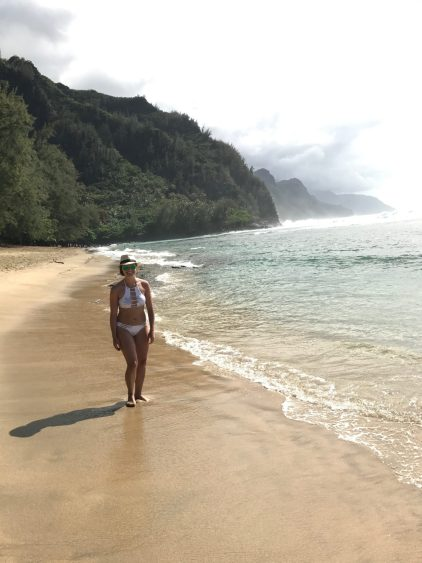 Rachel at Ke'e Beach in Ha'ena State Park