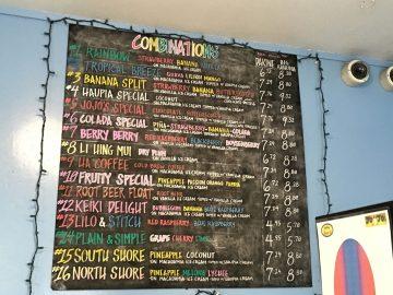 The menu at JoJo's Shave Ice on Kauai