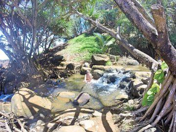 Grant in waterfall at Queen's Bath Kauai