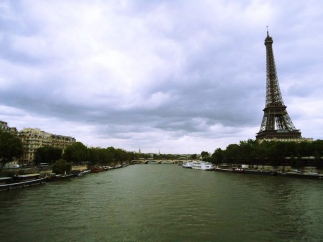 a view of the Eiffel Tower from the river