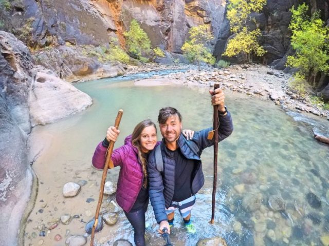 Grant and Rachel at Narrows in Zion
