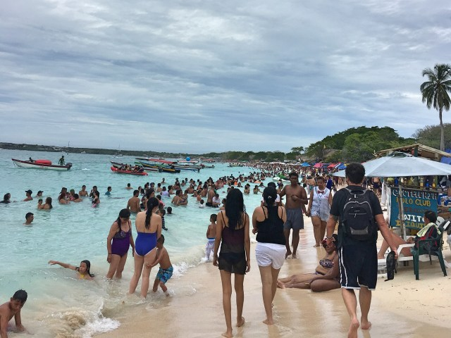 lots of people on crowded playa blanca