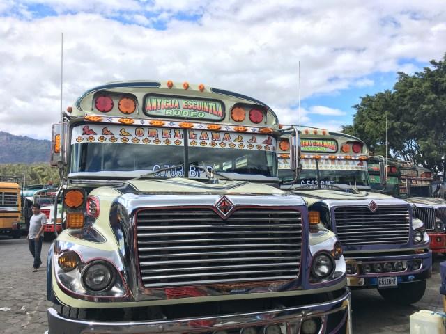 chicken bus in antigua market