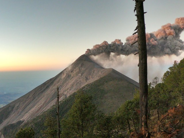 exploding volcano while Hiking Acatenango