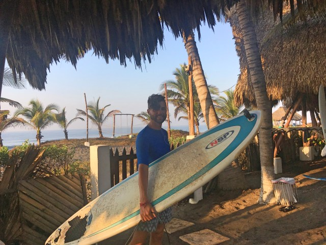 surfing at paredon surf camp