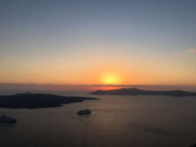 sunset fira santorini