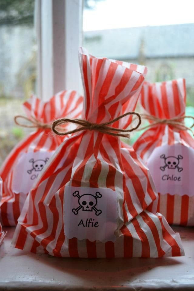 Homemade pirate party bags