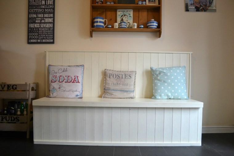 Homemade vintage kitchen bench