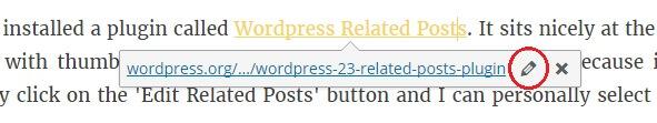 Edit links in WordPress