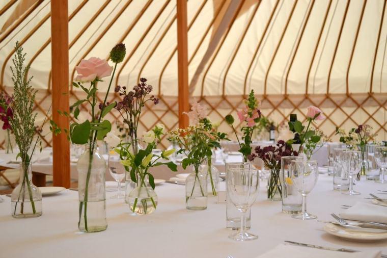 Flowers yurt wedding