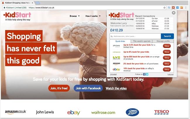 Get free cash back with Kidstart