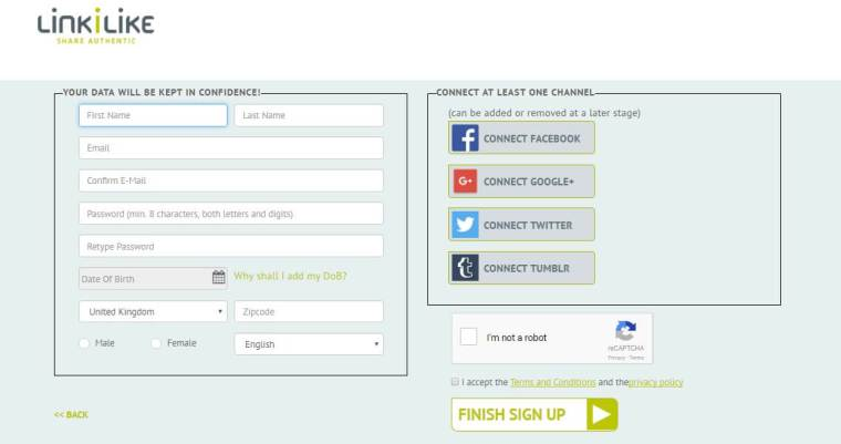 How to sign up for a free LINKILIKE account and earn money on social media