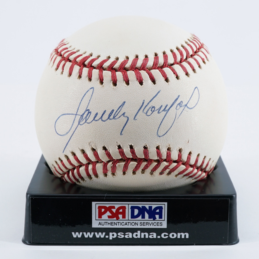 axel bloom sofa for sale los angeles gz auctions past sandy koufax single signed baseball psa dna