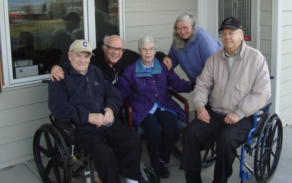 "Raymond G. ""Dutch"" Hunthausen, GZ co-founder Jim Douglass; Hunthausen's sister Edna; GZ co-founder Shelley Douglass; and brother Jack Hunthausen in Helena, Montana, November 20160"