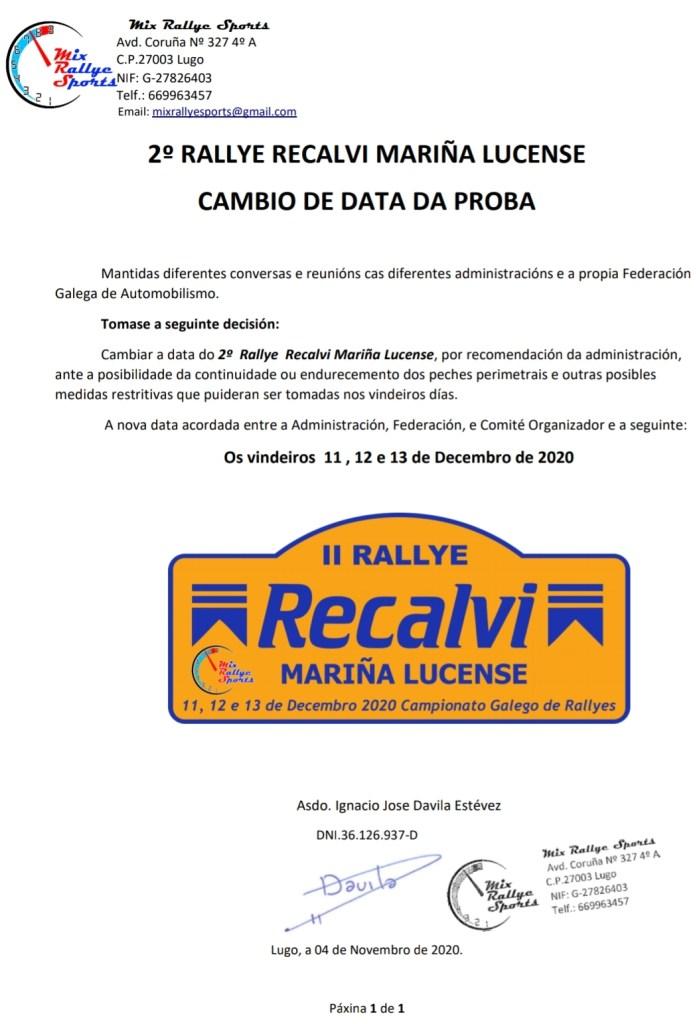 Comunicado Aplazamiento Rally Mariña Lucense 2020