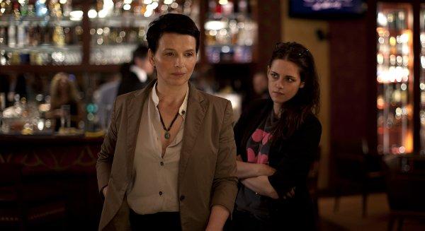 Juliette Binoche, Kristen Stewart, et un peu de tension. Photo de Carole Bethuel.