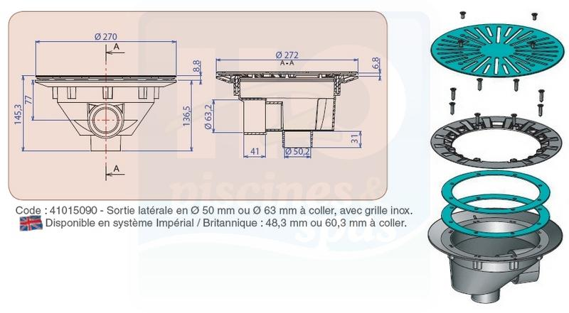 bonde de fond bl 311 i aquareva sortie laterale en o50 ou o63 a coller grille inox h2o piscines spas