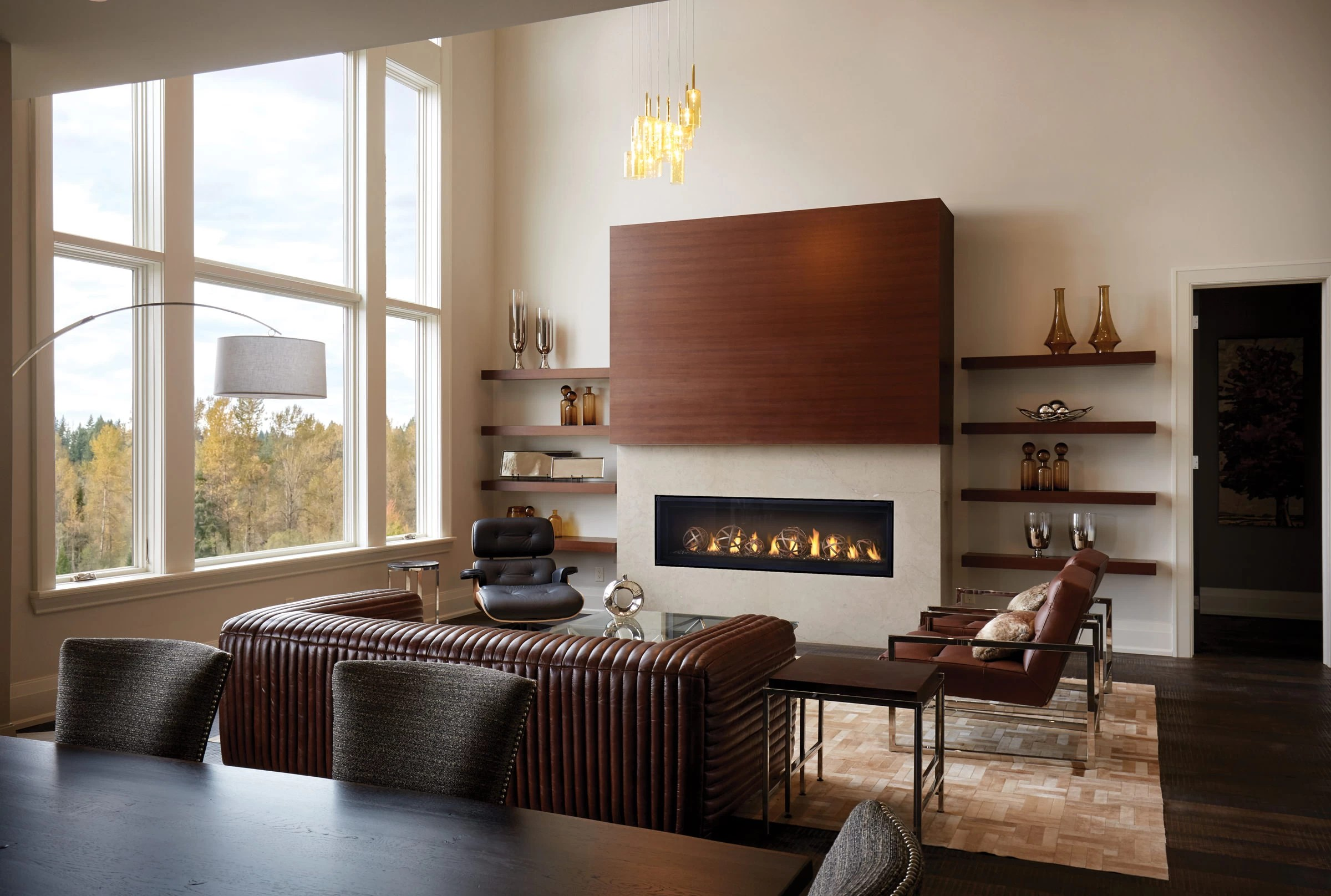 contemporary living room with electric fireplace tv cabinet for small napoleon - luxuria series 62 linear gas h2oasis