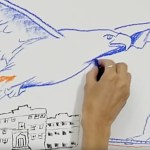 movie frame: artist's hand drawing eagle, humans, and natural creation.