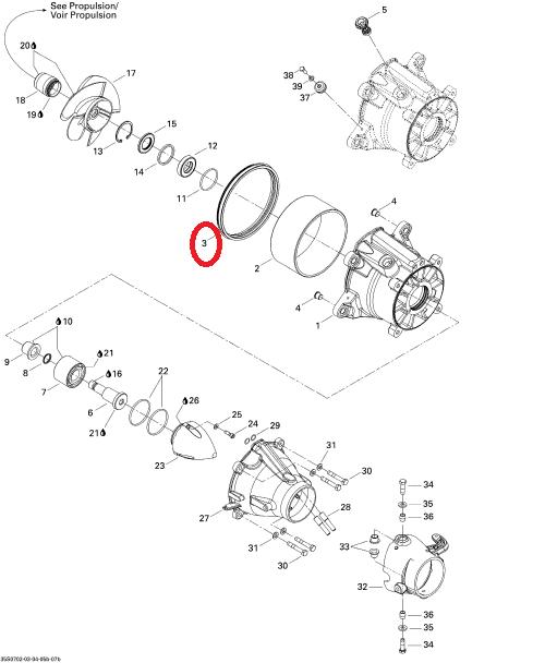 Guarnizione pompa idrogetto moto d'acqua SEA DOO 293250084