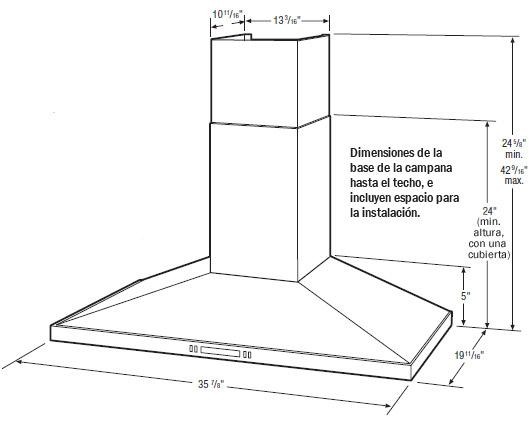 Campana 36 acero inoxidable con ventilaci n exterior for Dimensiones cocina