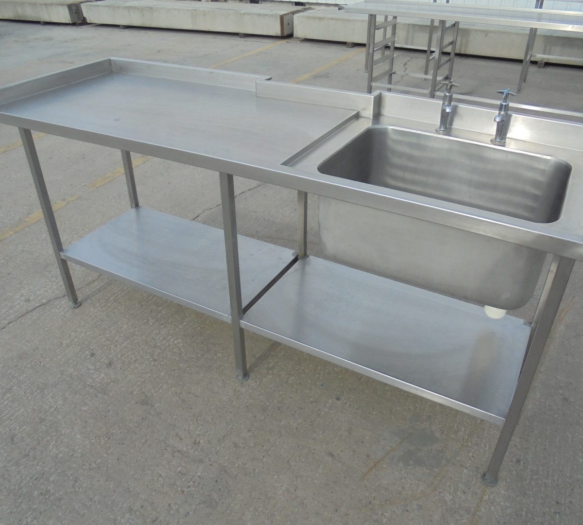 Used Stainless Steel Single Bowl Sink Table 200cmw X