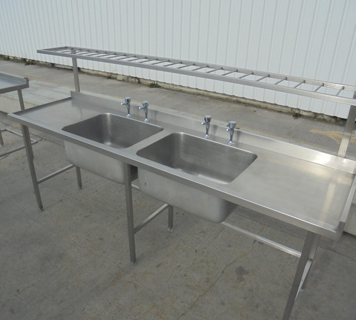 Used Stainless Steel Double Bowl Sink 240cmw X 65cmd X