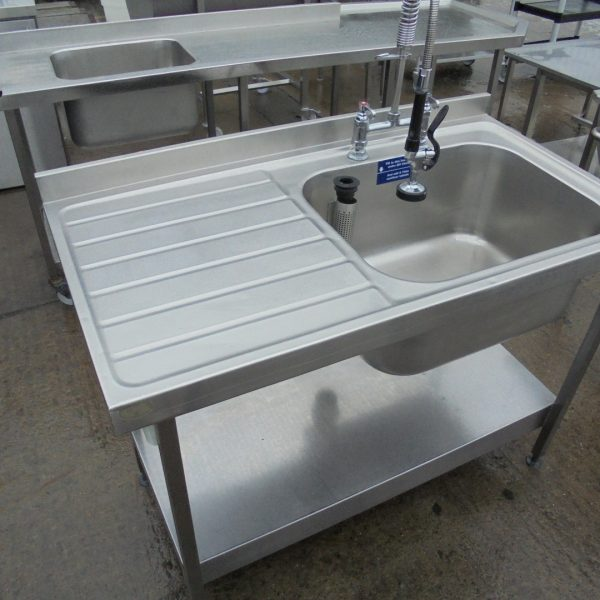 Used Stainless Steel Single Bowl Sink 120cmw X 65cmd X