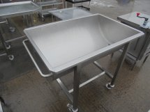 Used Mobile Stainless Steel Mixing Bowl Trough Moon