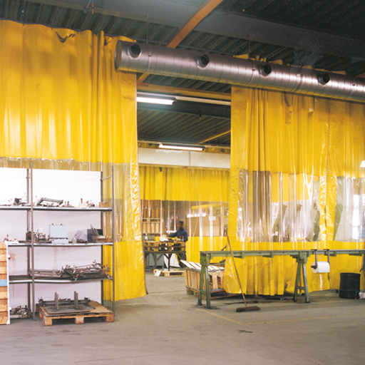 Flexible Industrial curtain with clear sheet  Haagh Protection
