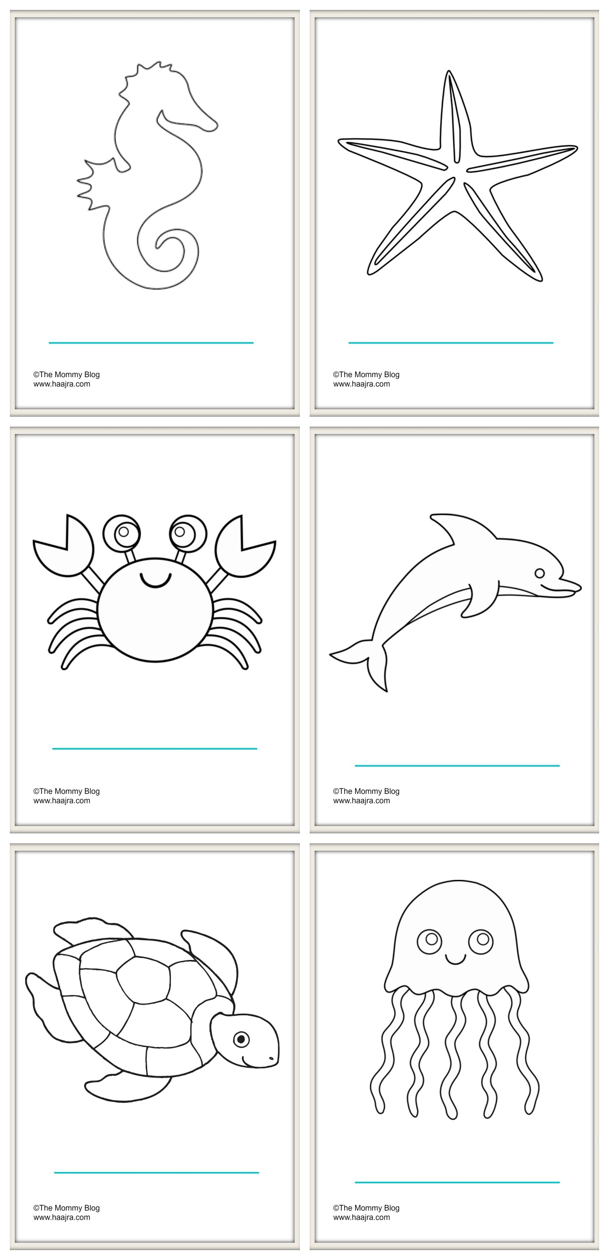 Sea Animals Printable Colouring Sheets Free