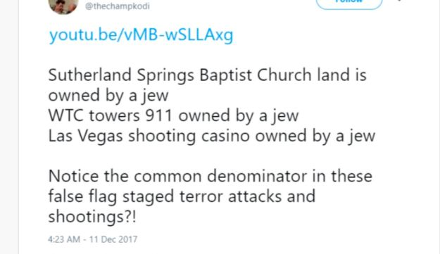 Anti-Semitic tweet about false flag attacks, recorded by the ADL.