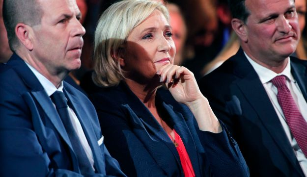 French far right leader Marine Le Pen, Austria's Freedom Party Secretary General Harald Vilimsky (L) and Front National Vice-President, Louis Aliot at a May Day gathering in Nice, France. May 1, 2018