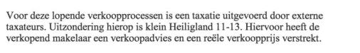 verkoopadvies is geen taxatie
