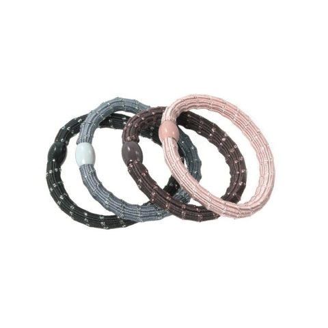 dickeres Haargummi mit Lurex Sortimens in schwarz, grau, braun und rose