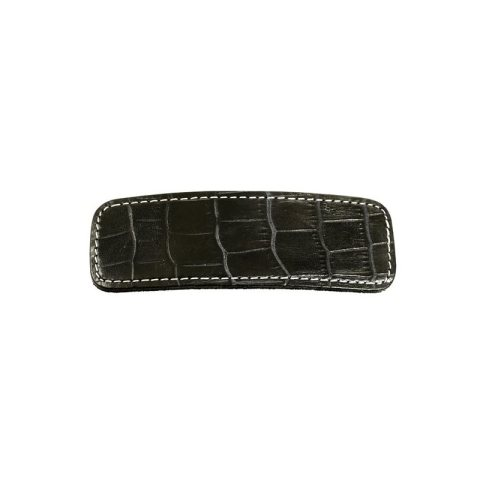 Patentspange Leder schwarz im Krokomotiv mit weißer Naht umrandet