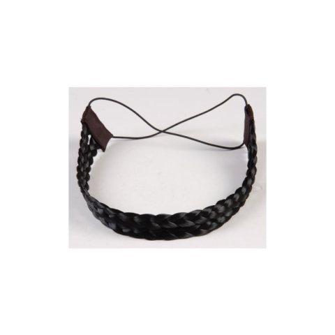 Haarband aus Kunsthaar - doppelreihig schwarz